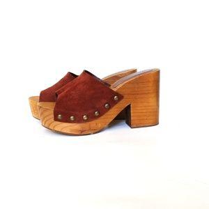 Zara Basic Wooden Heel Suede Platform Mules